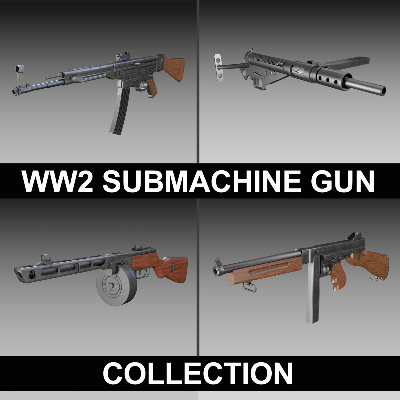 ww2 senapang submachine - koleksi 3d model 3ds fbx c4d lwo obj 199281