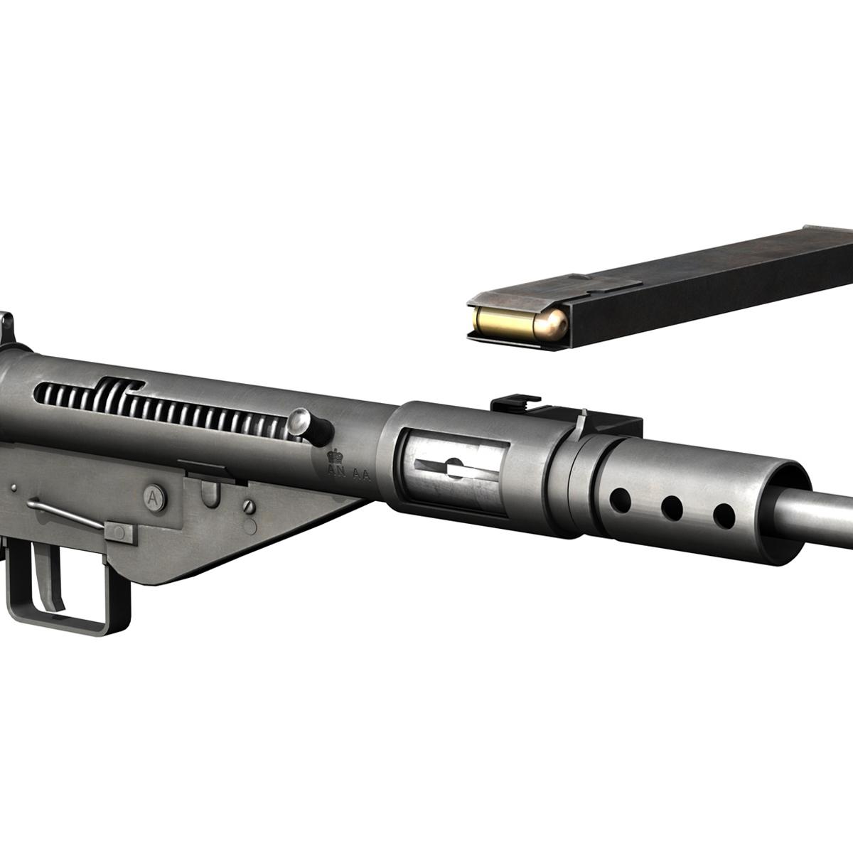 sten submachine gun – collection 3d model 3ds fbx c4d lwo obj 199300