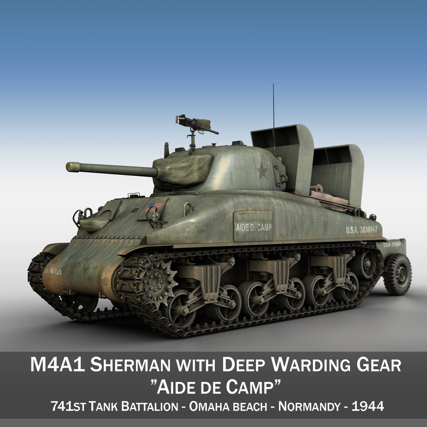 m4a1 sherman – aide de camp 3d model 3ds fbx c4d lwo obj 199795