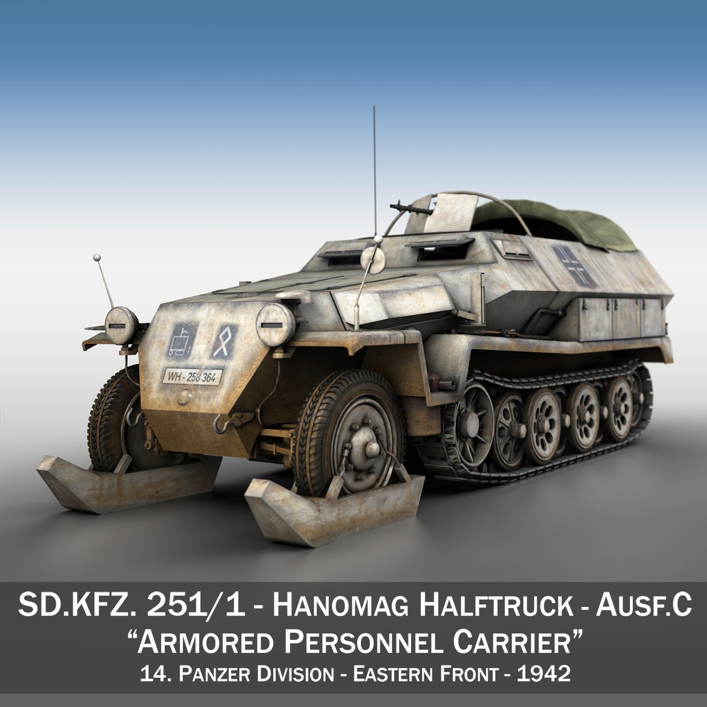 sd.kfz 251/1 ausf.c – halftrack – 14pd – winterkit 3d model 3ds fbx c4d lwo obj 201043