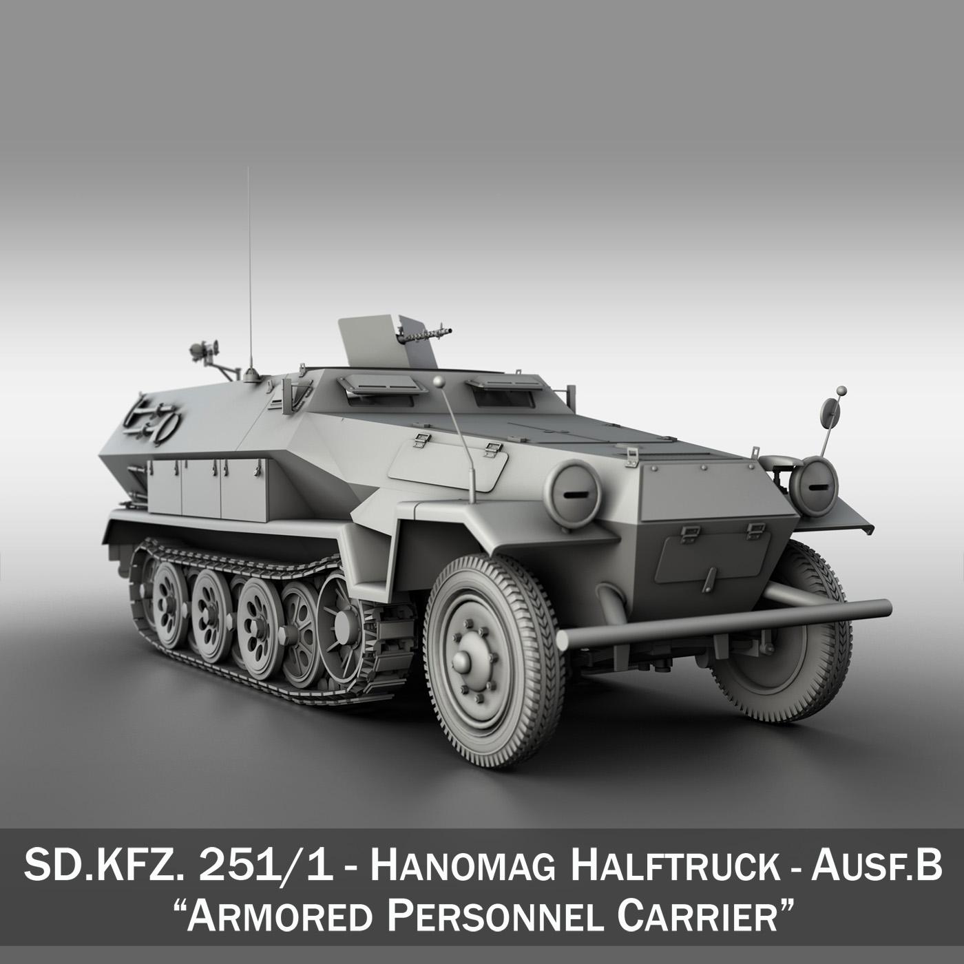 sd.kfz 251/1 ausf.b – hanomag halftruck 3d model 3ds fbx c4d lwo obj 201159