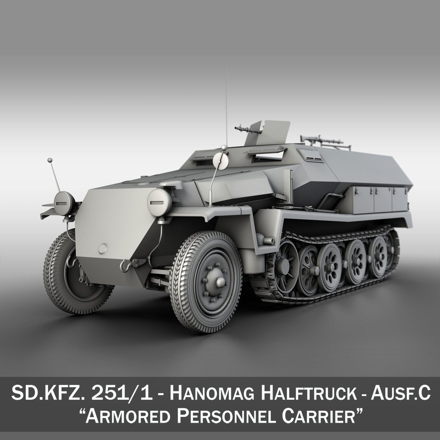 sd.kfz 251/1 ausf.c – hanomag halftruck 3d model 3ds fbx c4d lwo obj 201163