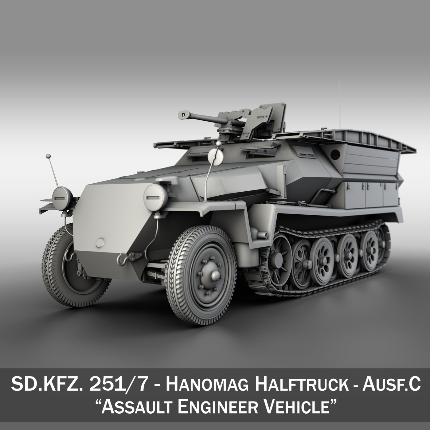 sd.kfz 251/7 ausf.c – assault engineer vehicle 3d model 3ds fbx c4d lwo obj 201227