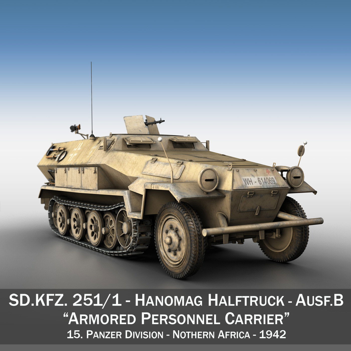 sd.kfz 251 1 ausf.b - hanner modur ar y we - model 15pd 3d 3ds fbx c4d lwo obj 201298