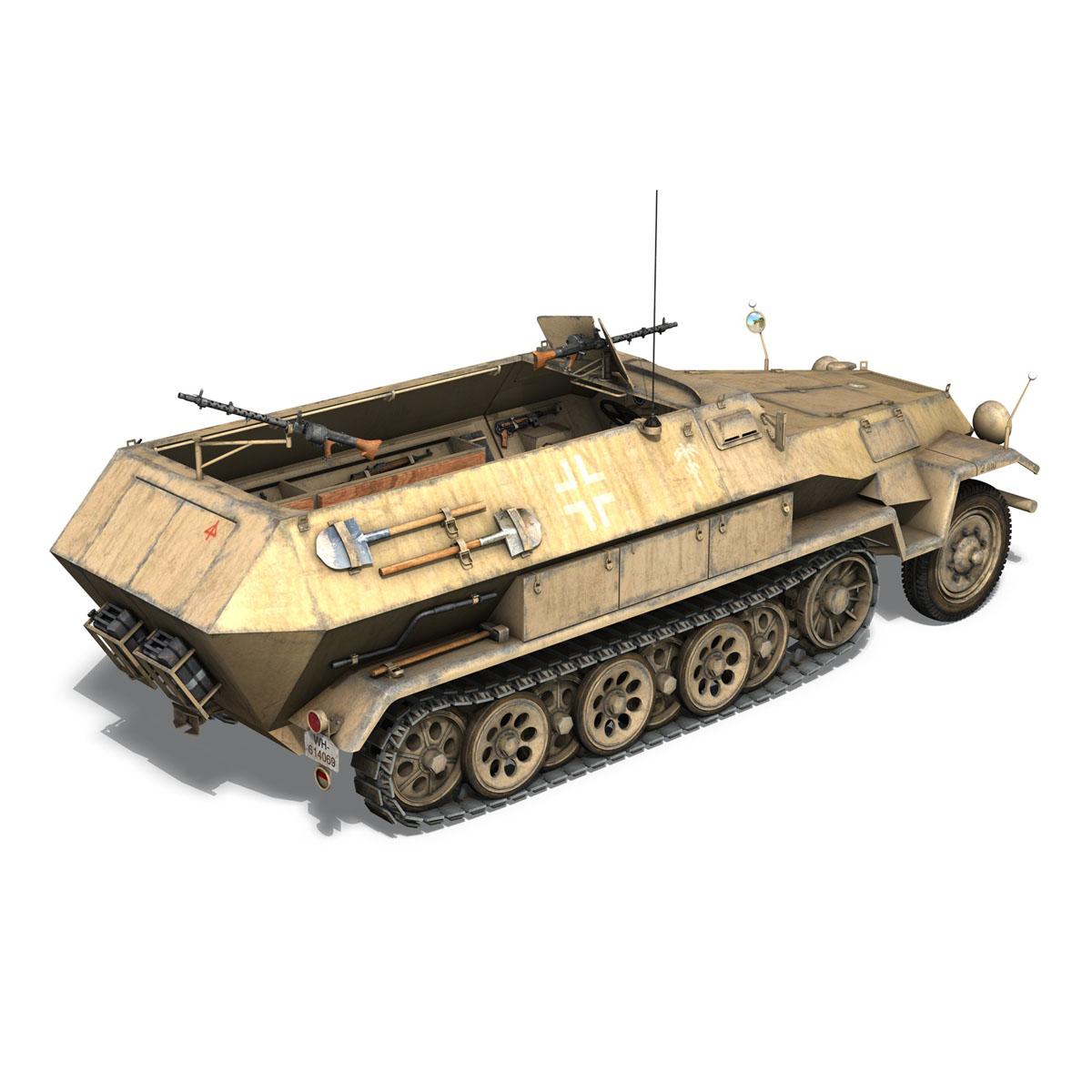 sd.kfz 251 1 ausf.b – hanomag halftruck dak – 15pd 3d model 3ds fbx c4d lwo obj 201300