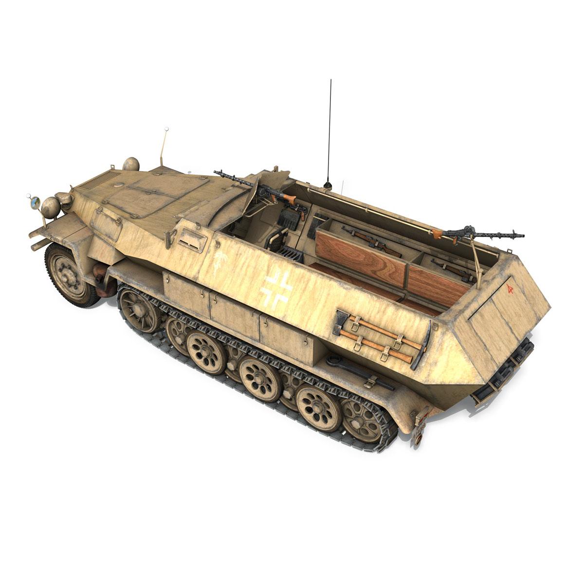 sd.kfz 251 1 ausf.b – hanomag halftruck dak – 15pd 3d model 3ds fbx c4d lwo obj 201302