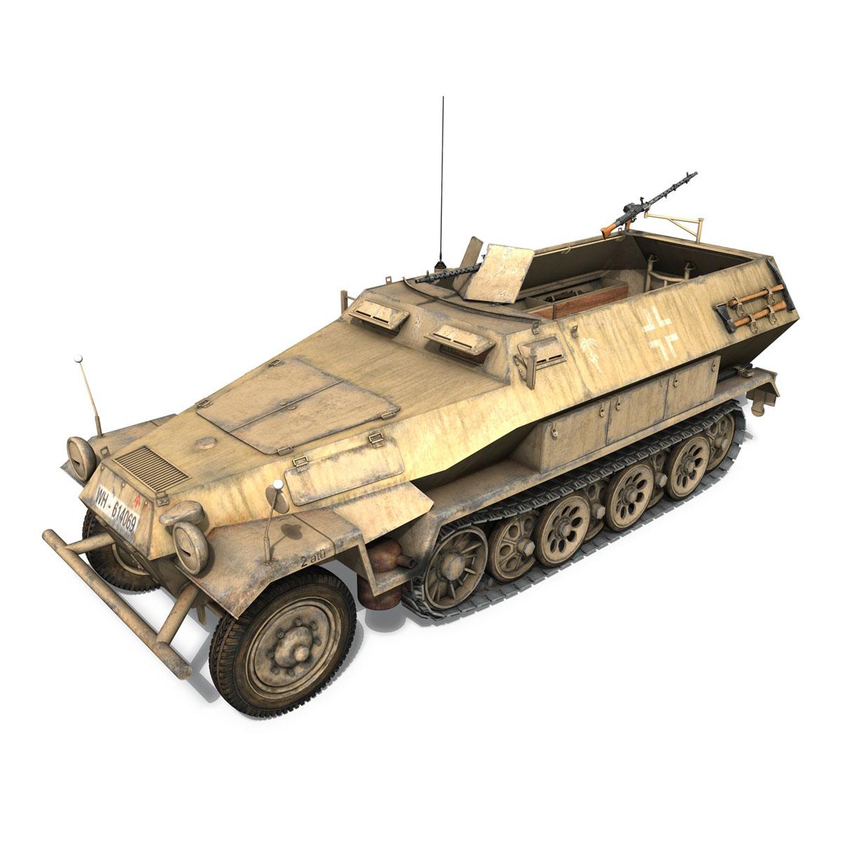 sd.kfz 251 1 ausf.b – hanomag halftruck dak – 15pd 3d model 3ds fbx c4d lwo obj 201303
