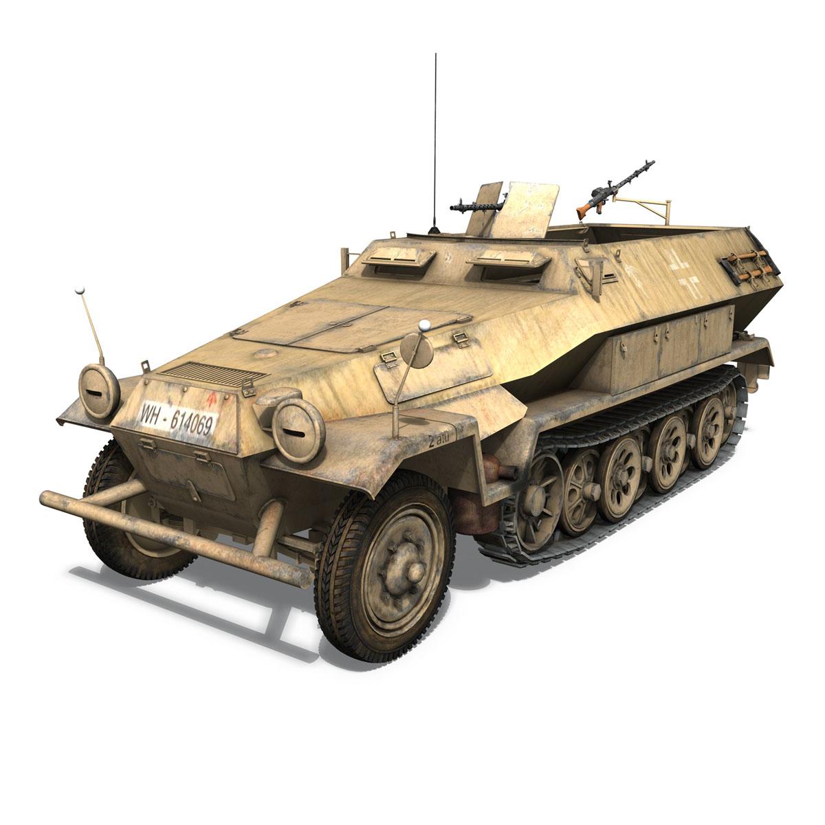 sd.kfz 251 1 ausf.b – hanomag halftruck dak – 15pd 3d model 3ds fbx c4d lwo obj 201304