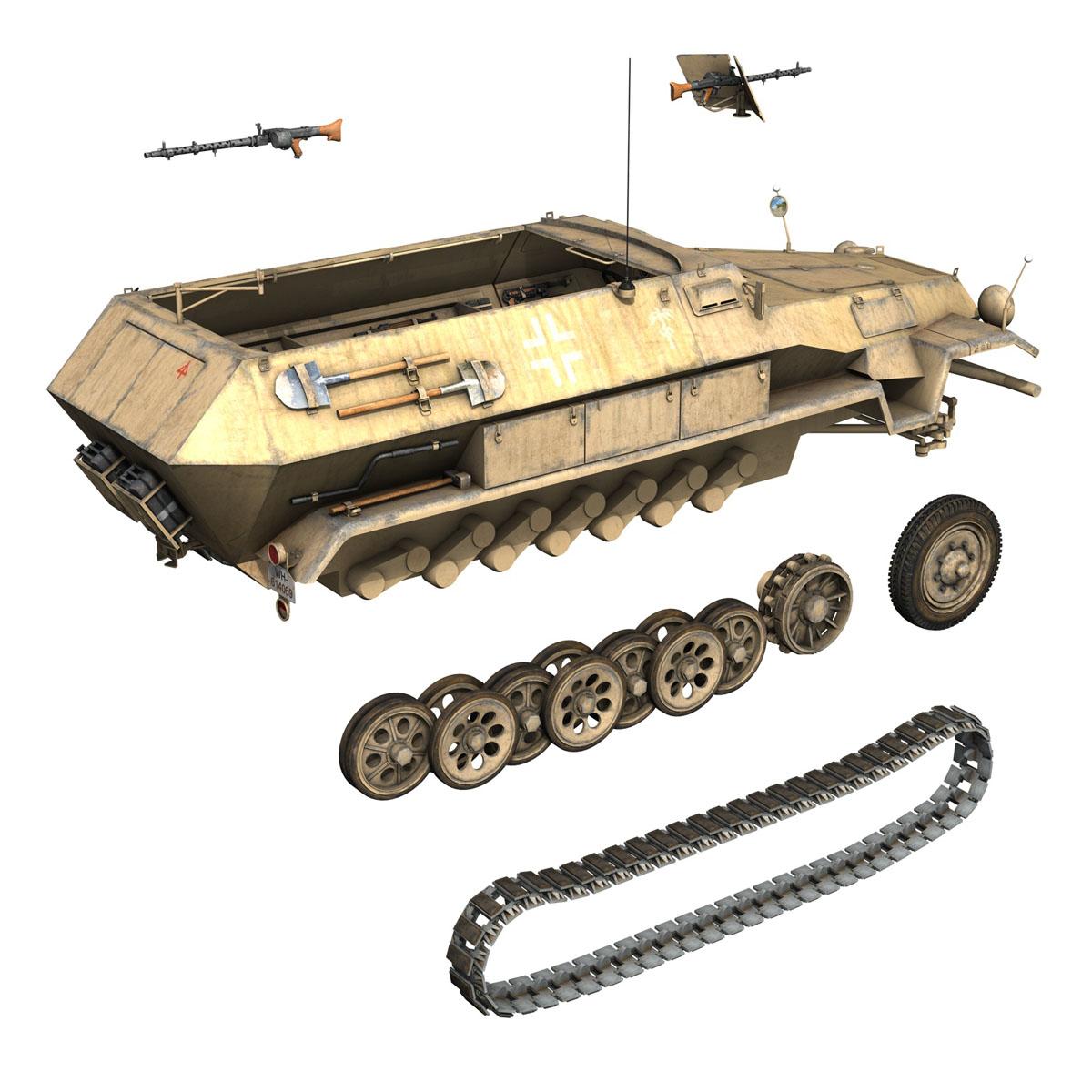 sd.kfz 251 1 ausf.b – hanomag halftruck dak – 15pd 3d model 3ds fbx c4d lwo obj 201306