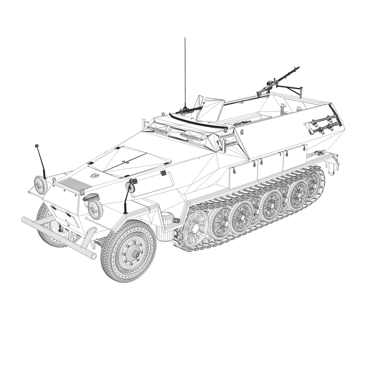 sd.kfz 251 1 ausf.b – hanomag halftruck dak – 15pd 3d model 3ds fbx c4d lwo obj 201307