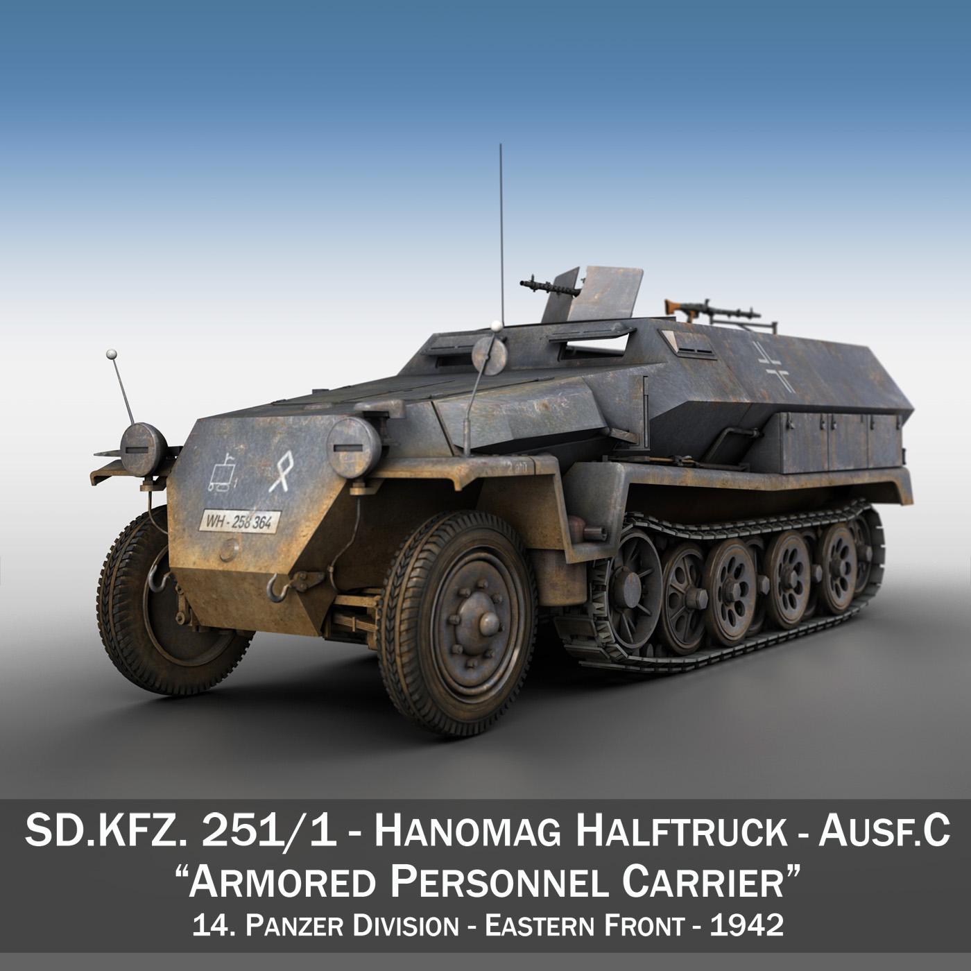 sd.kfz 251 1 ausf.c – half-track 3d model 3ds fbx c4d lwo obj 201390