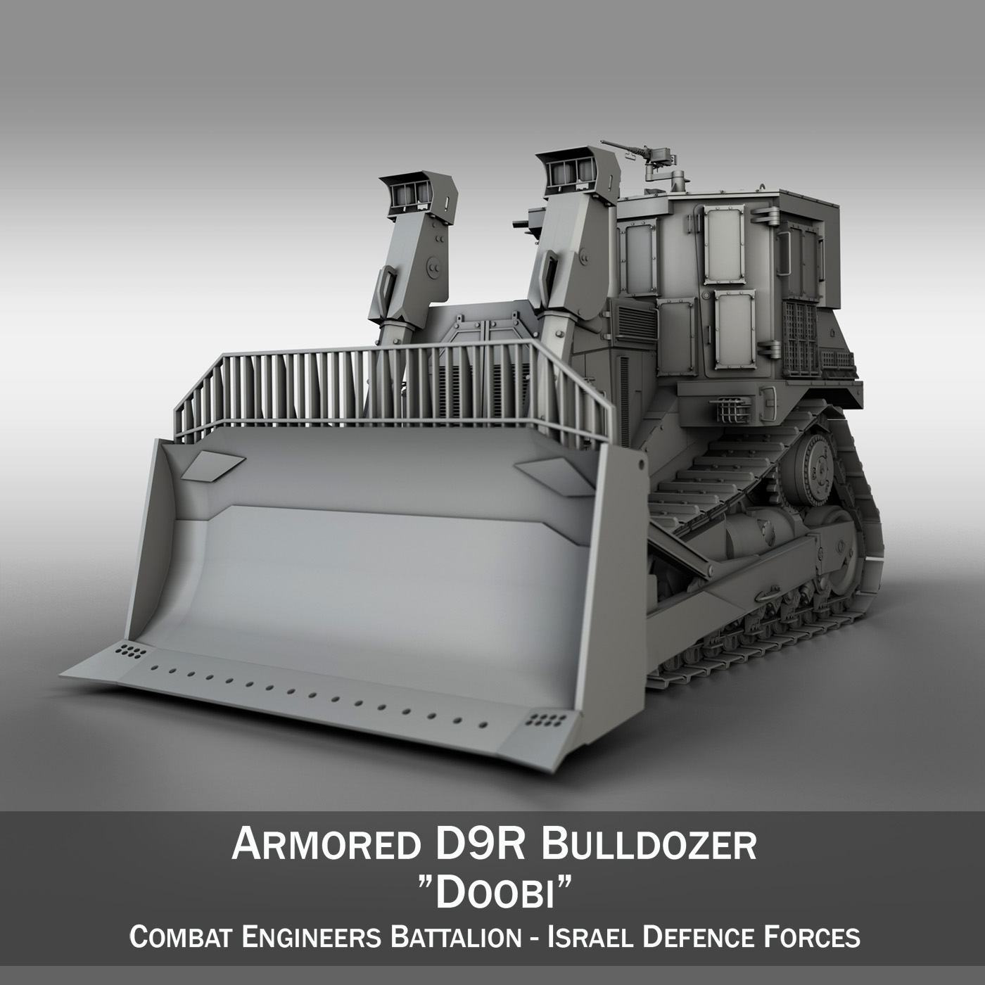 armored cat d9r bulldozer 3d model 3ds fbx c4d lwo obj 201401
