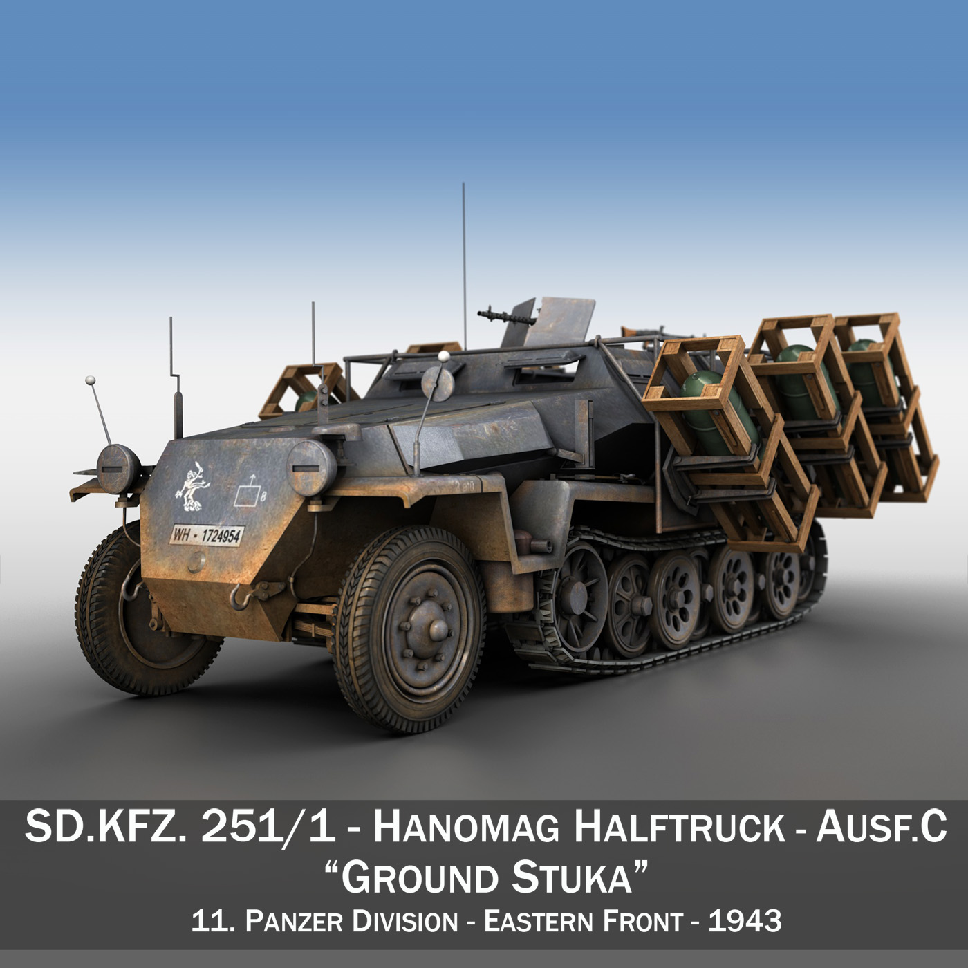 sd.kfz 251/1 ausf.c – ground stuka – 11pd 3d model 3ds fbx c4d lwo obj 201487