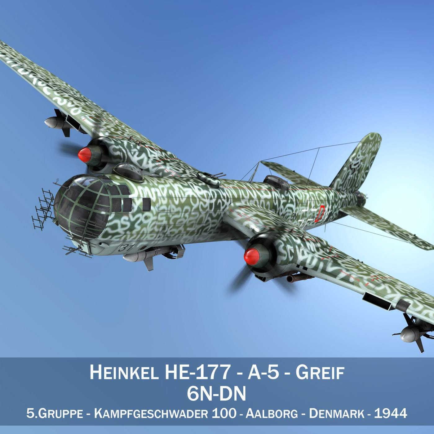 heinkel he-177 a-5 - greif - model 6ndn 3d 3ds fbx c4d lwo obj 201589