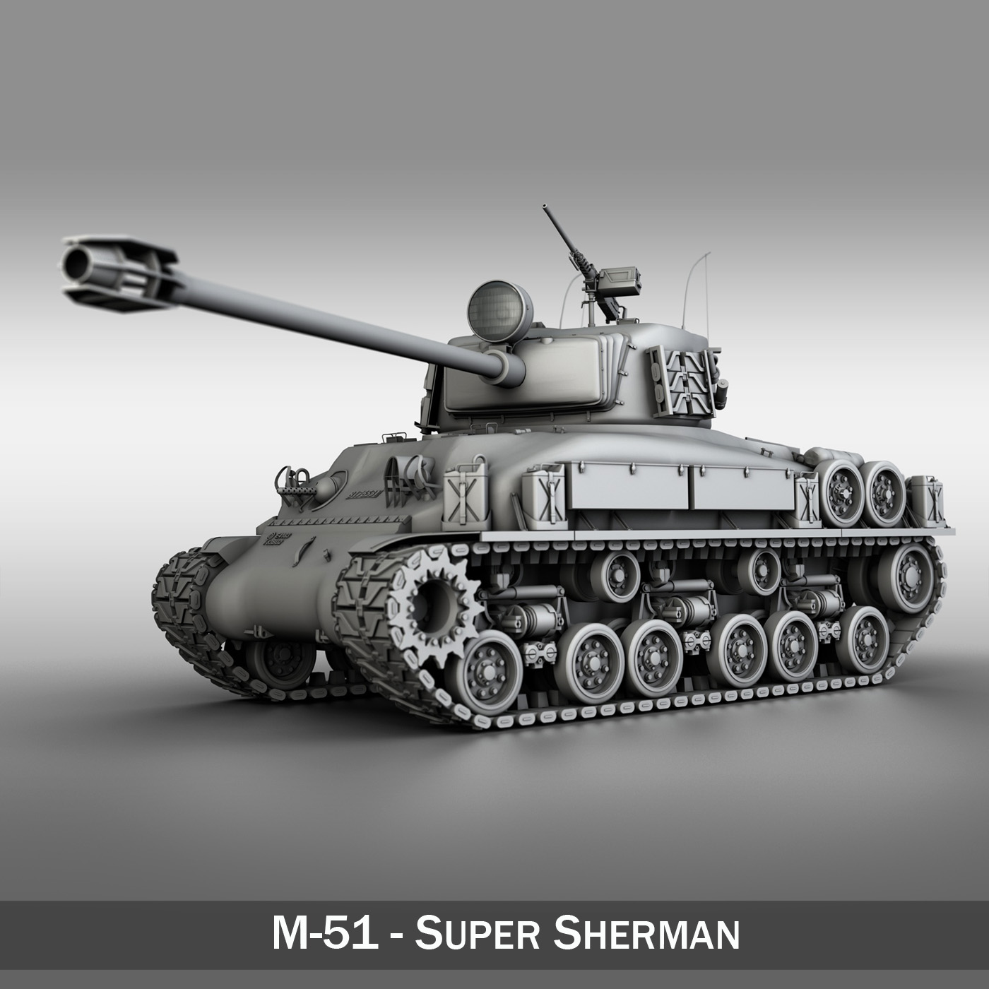 m-51 super sherman isherman 3d model 3ds fbx c4d lwo obj 201883