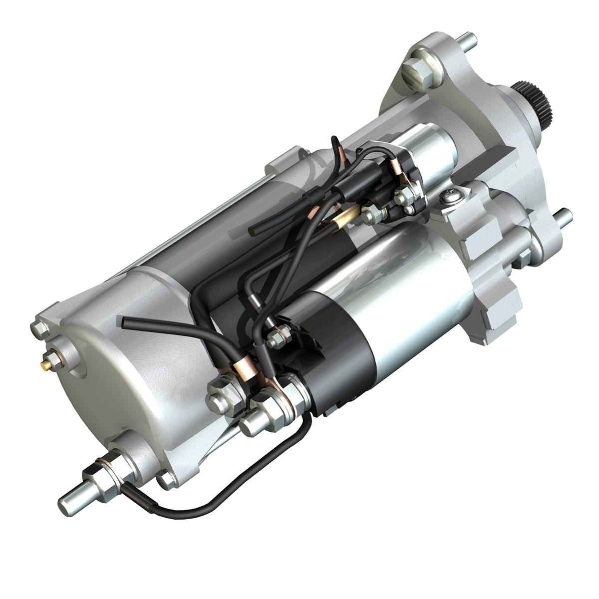 starter motor 02 3d model 3ds fbx c4d lwo obj 201926