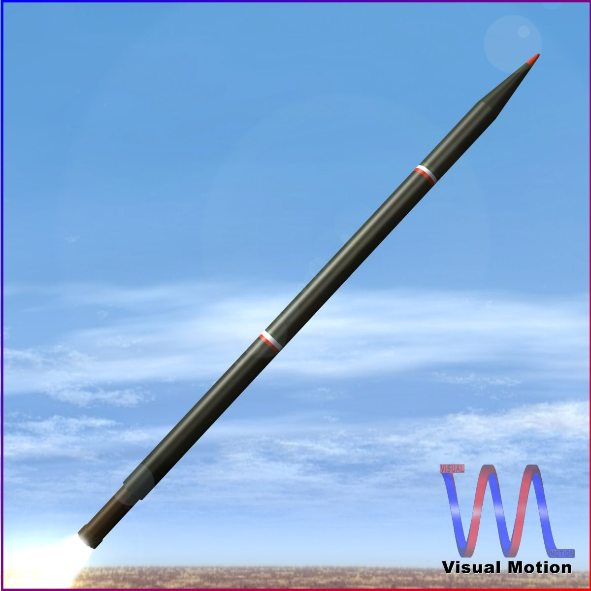 iranian arash rocket 3d model 3ds dxf fbx blend cob dae x obj 202095