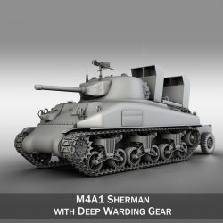 M4A1 Sherman with Deep wading gear 3d model 0
