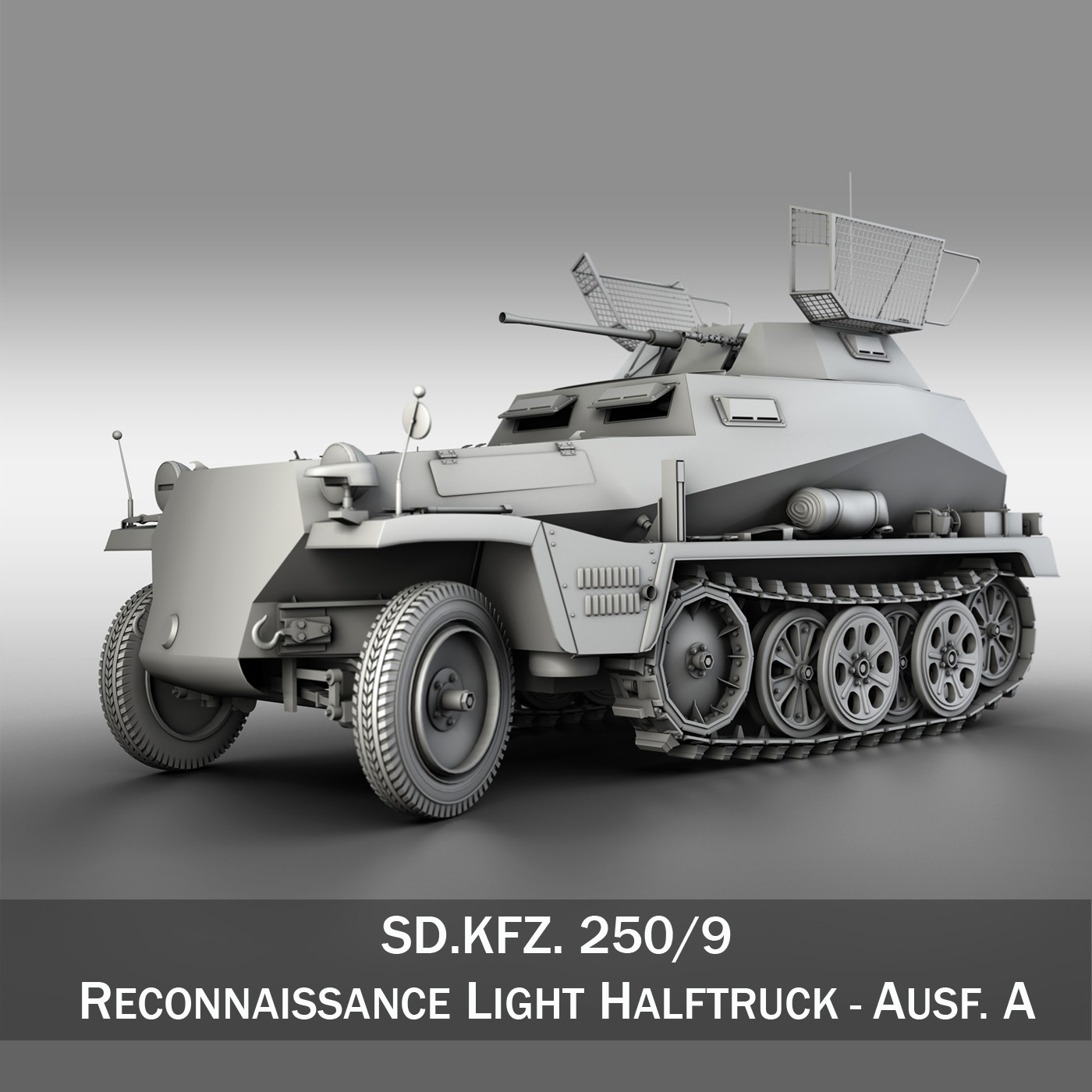sd.kfz 250/9 – half-track reconnaissance vehicle 3d model 3ds fbx c4d lwo obj 202269