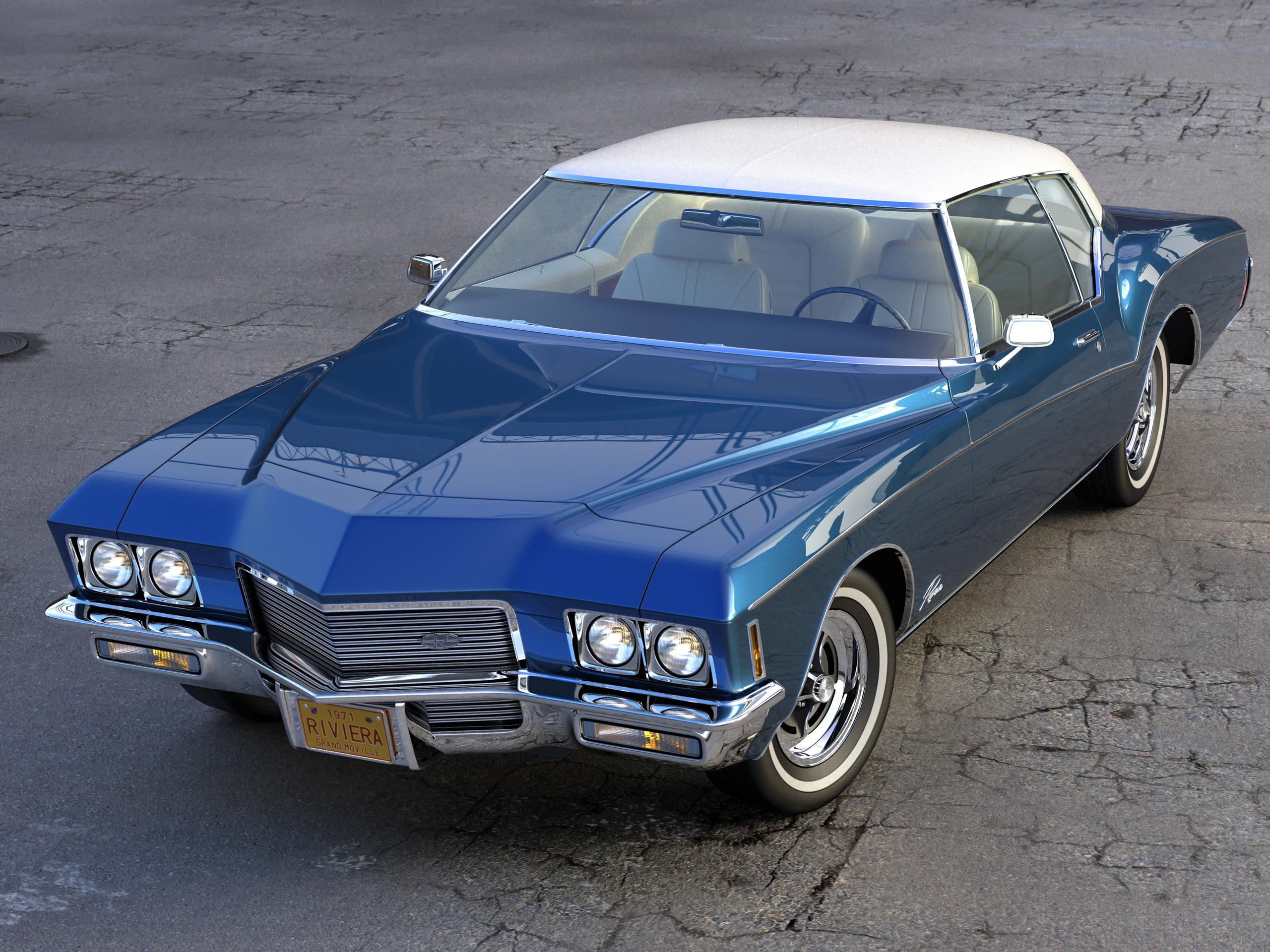 buick riviera 1971 3d model 3ds max fbx c4d obj 202613