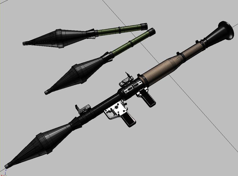 rpg 7 rocket launcher 3d model 3ds max fbx obj 203478