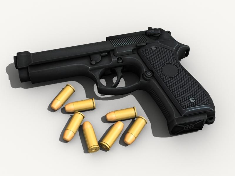 beretta pistol 3d model 3ds max fbx obj 203529
