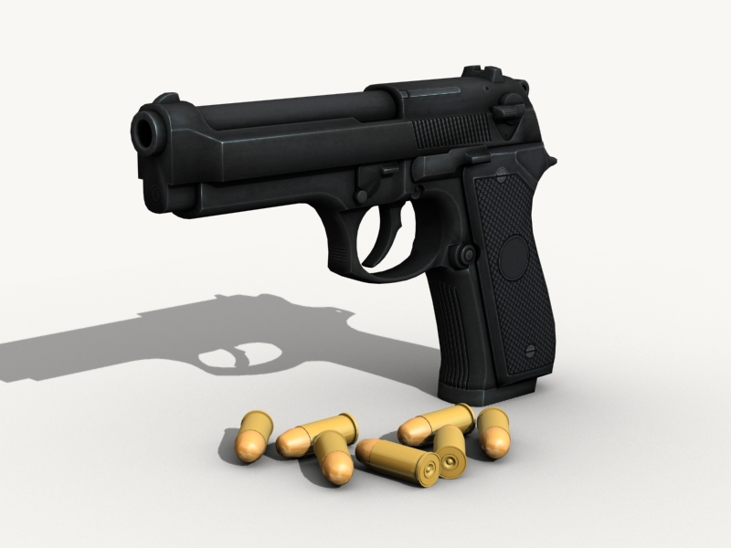 beretta pistol 3d model 3ds max fbx obj 203530