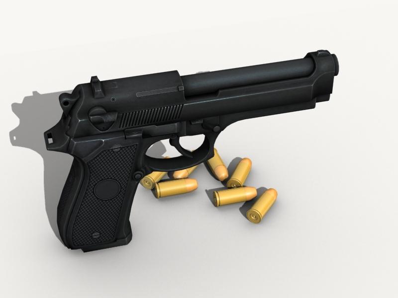 beretta pistol 3d model 3ds max fbx obj 203531