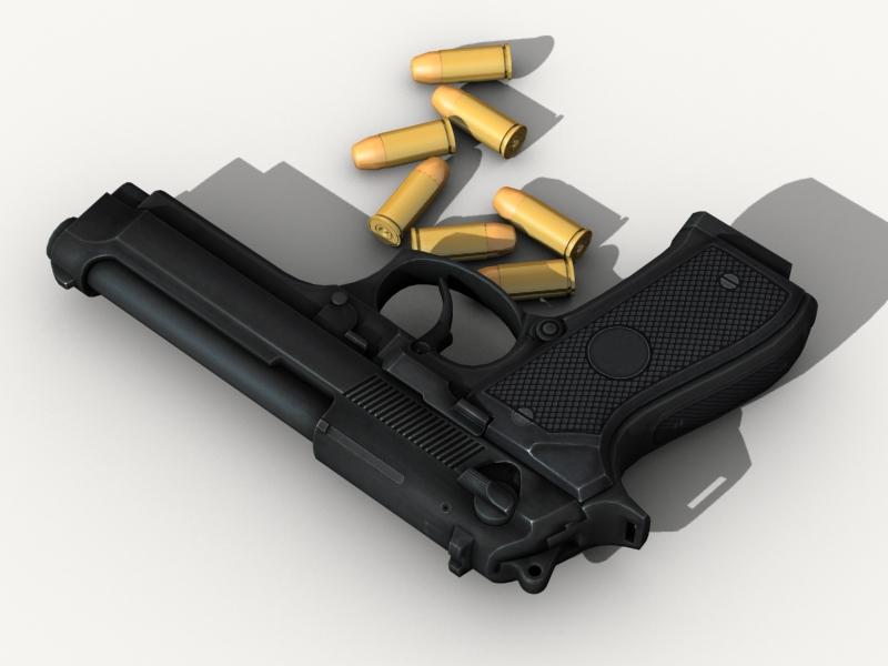beretta pistol 3d model 3ds max fbx obj 203532