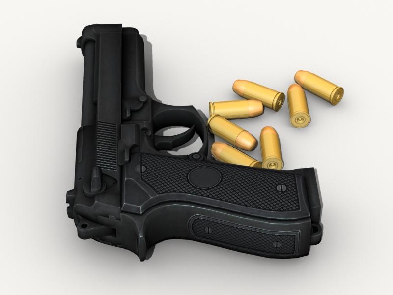 beretta pistol 3d model 3ds max fbx obj 203533