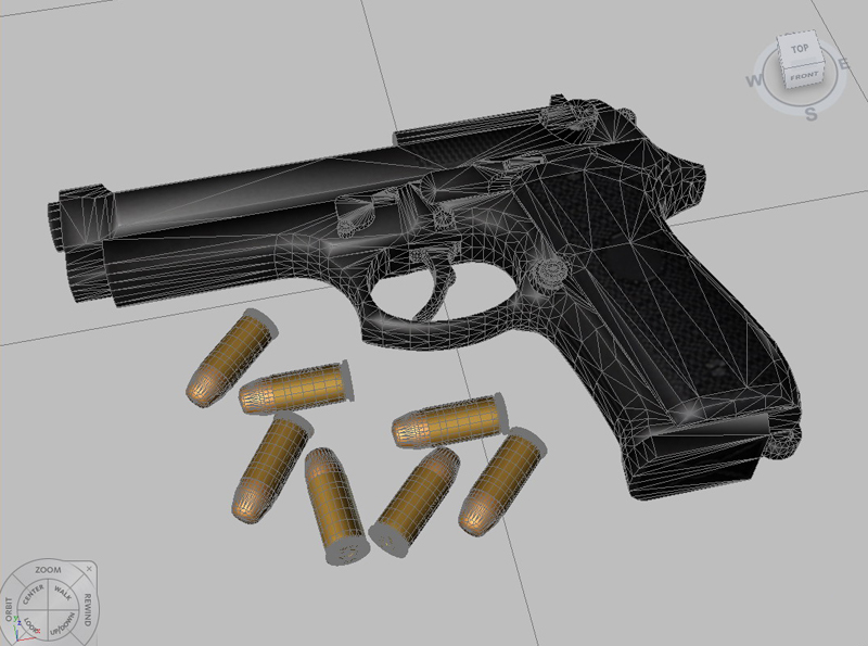 beretta pistol 3d model 3ds max fbx obj 203534