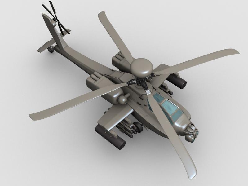 az apache helikopter 3d modell 3ds max fbx obj 203549