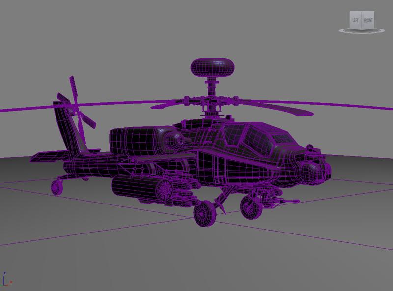 az apache helikopter 3d modell 3ds max fbx obj 203554