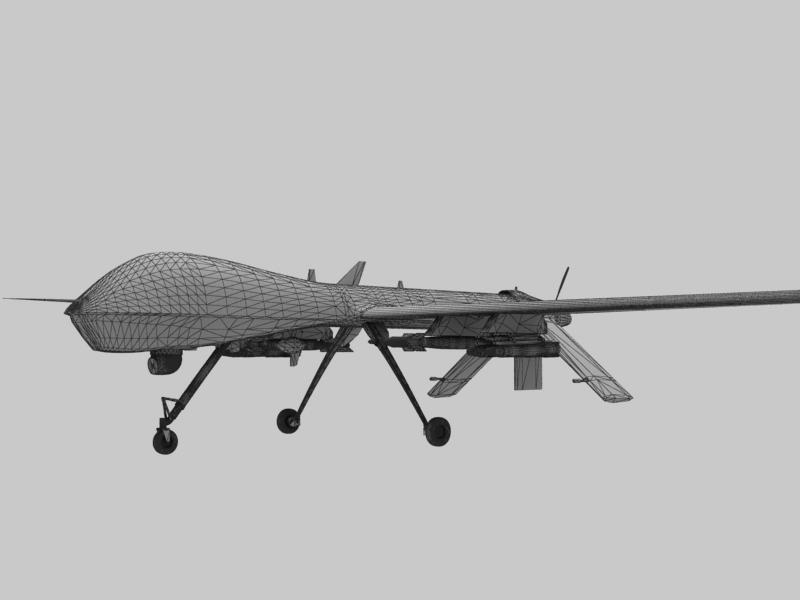 mq-1 creachadóir (uav) Samhail 3d 3ds max fbx obj 203571