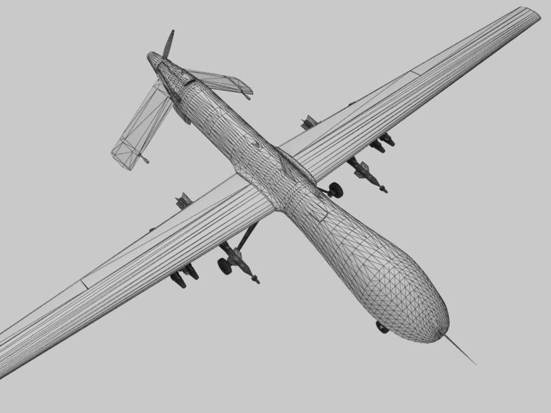 mq-1 creachadóir (uav) Samhail 3d 3ds max fbx obj 203572
