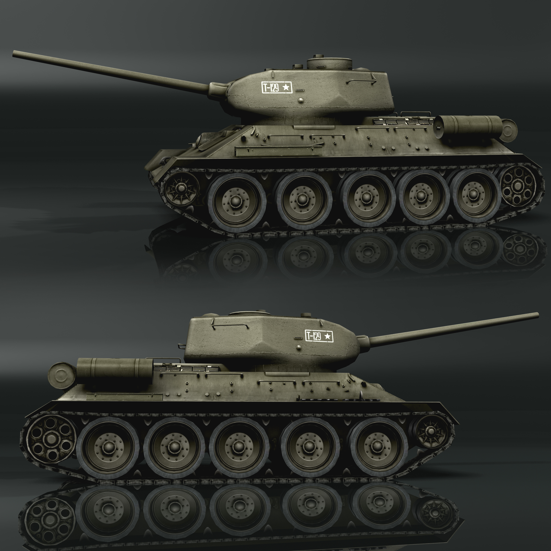 tank t34-85 3d model 3ds max fbx other 203836