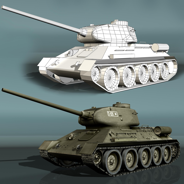 tank t34-85 3d model 3ds max fbx other 203844