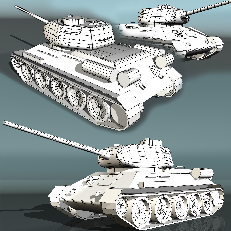 tank t34-85 3d model 3ds max fbx other 203845