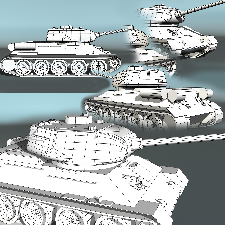 tank t34-85 3d model 3ds max fbx other 203846