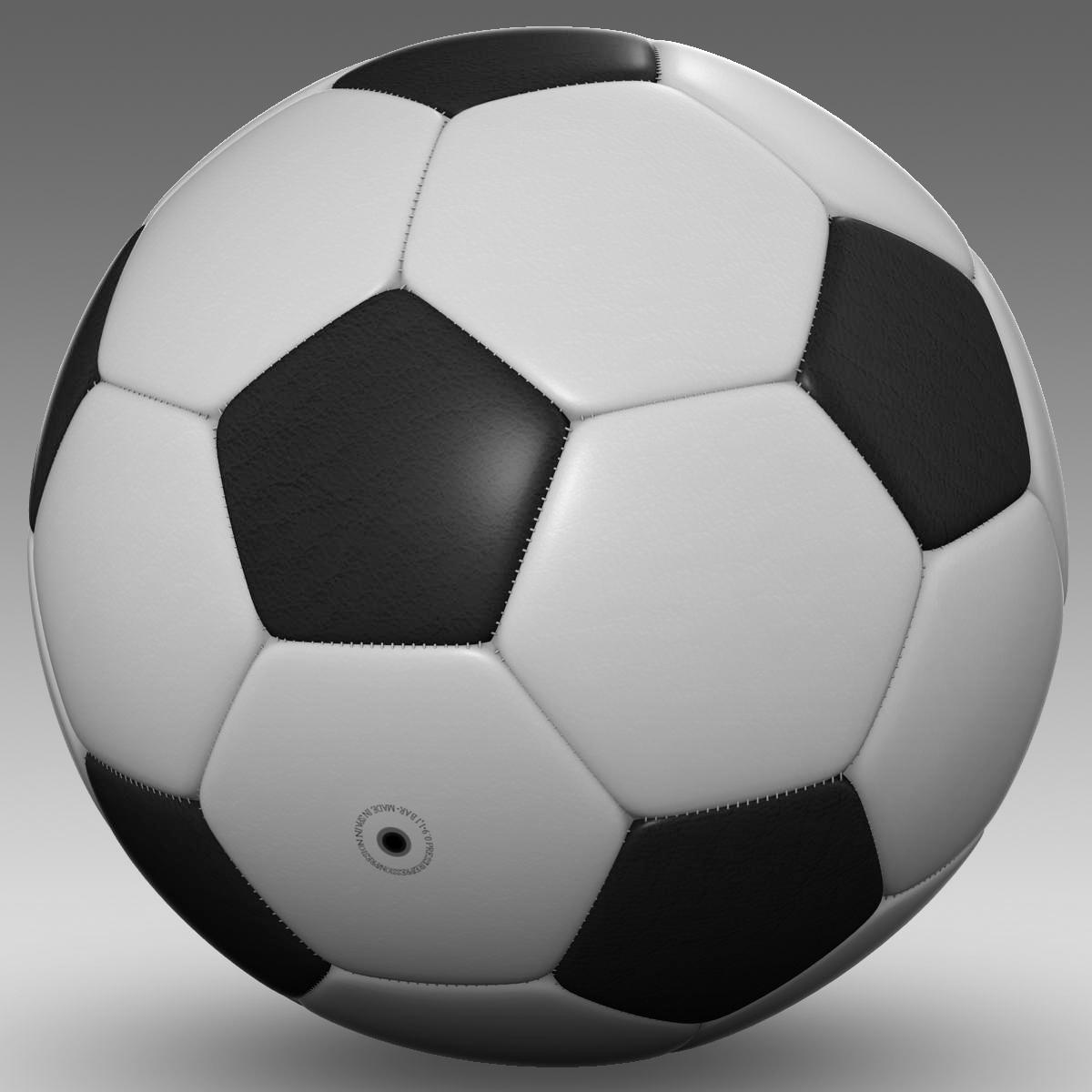 soccerball black white 3d model 3ds max fbx c4d ma mb obj 203954