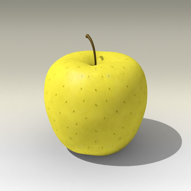 photorealistic yellow apple 3d model 3ds max fbx c4d lwo obj 204061