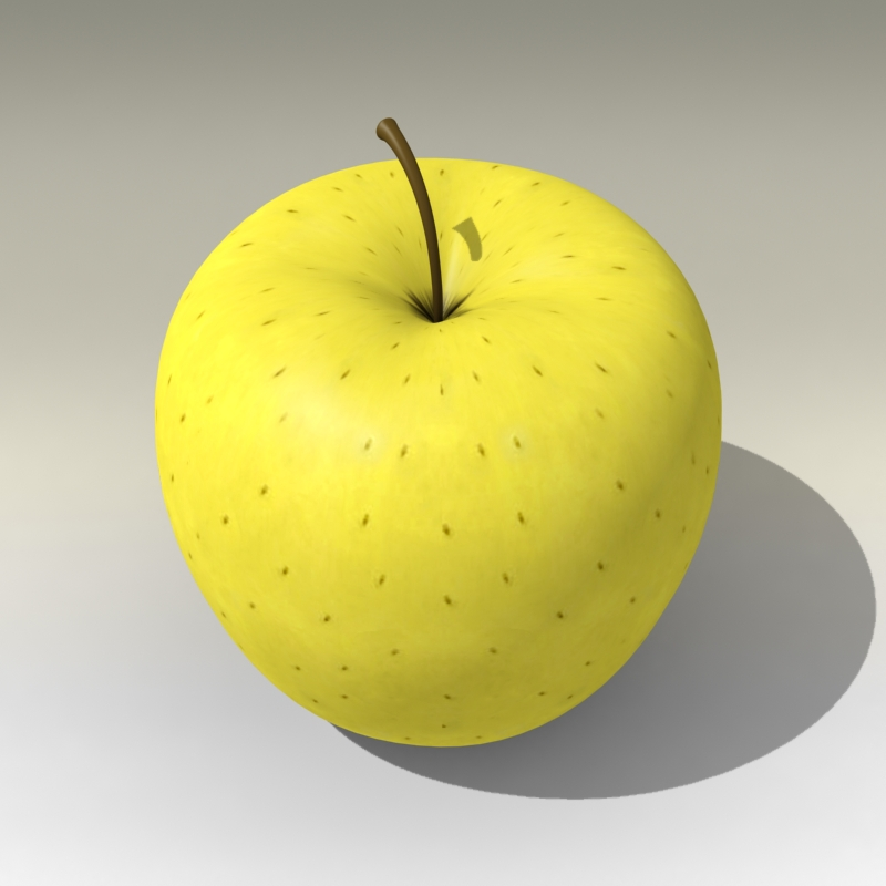 photorealistic yellow apple 3d model 3ds max fbx c4d lwo obj 204062
