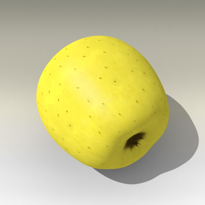 photorealistic yellow apple 3d model 3ds max fbx c4d lwo obj 204063