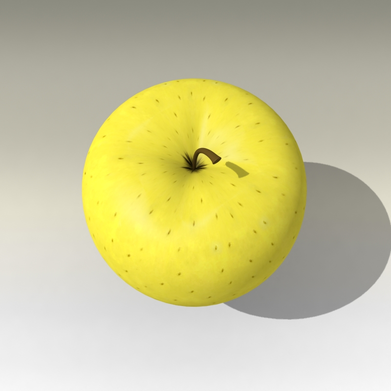 photorealistic yellow apple 3d model 3ds max fbx c4d lwo obj 204065