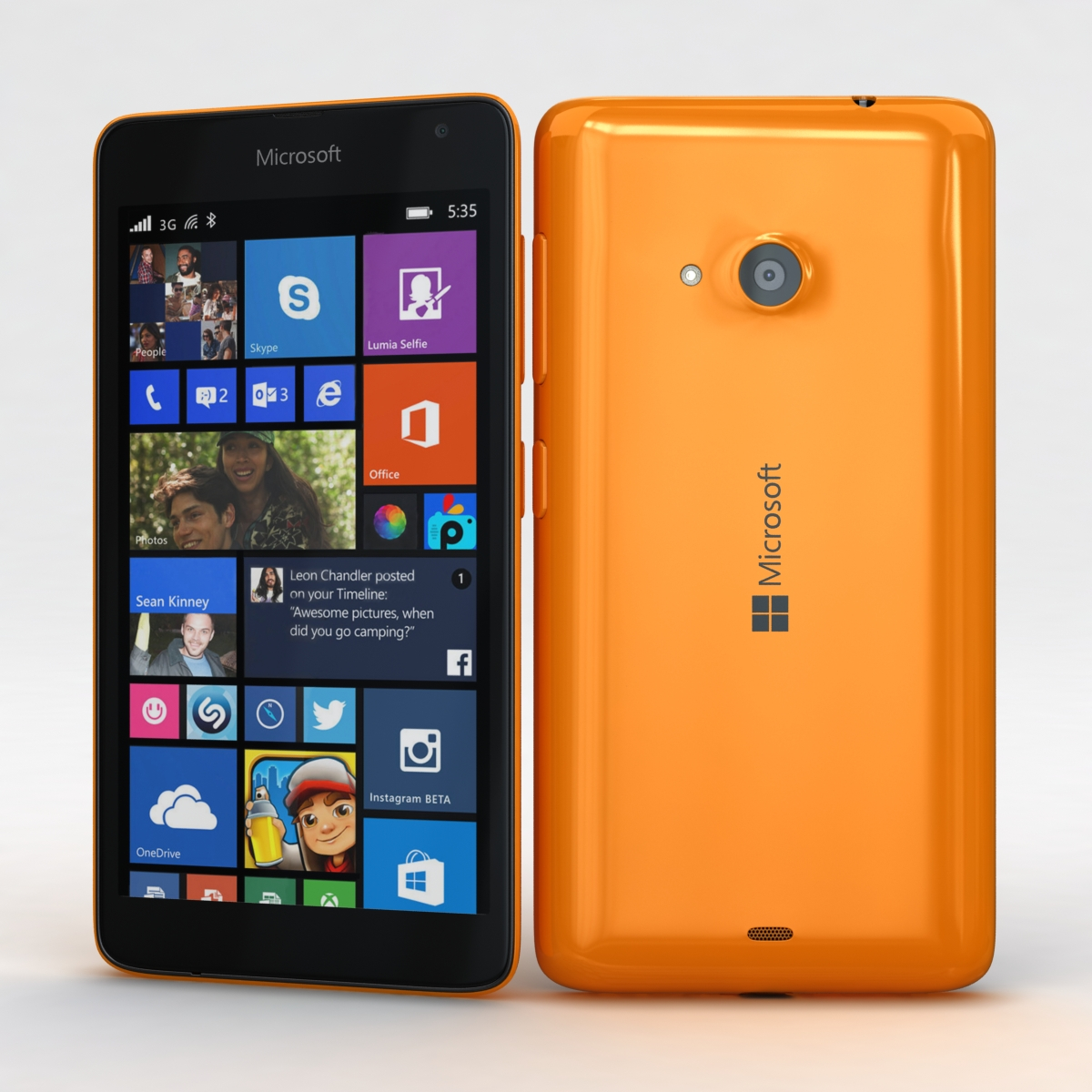 microsoft lumia 535 dan dual sim orange 3d model 3ds maks fbx c4d obj 204103