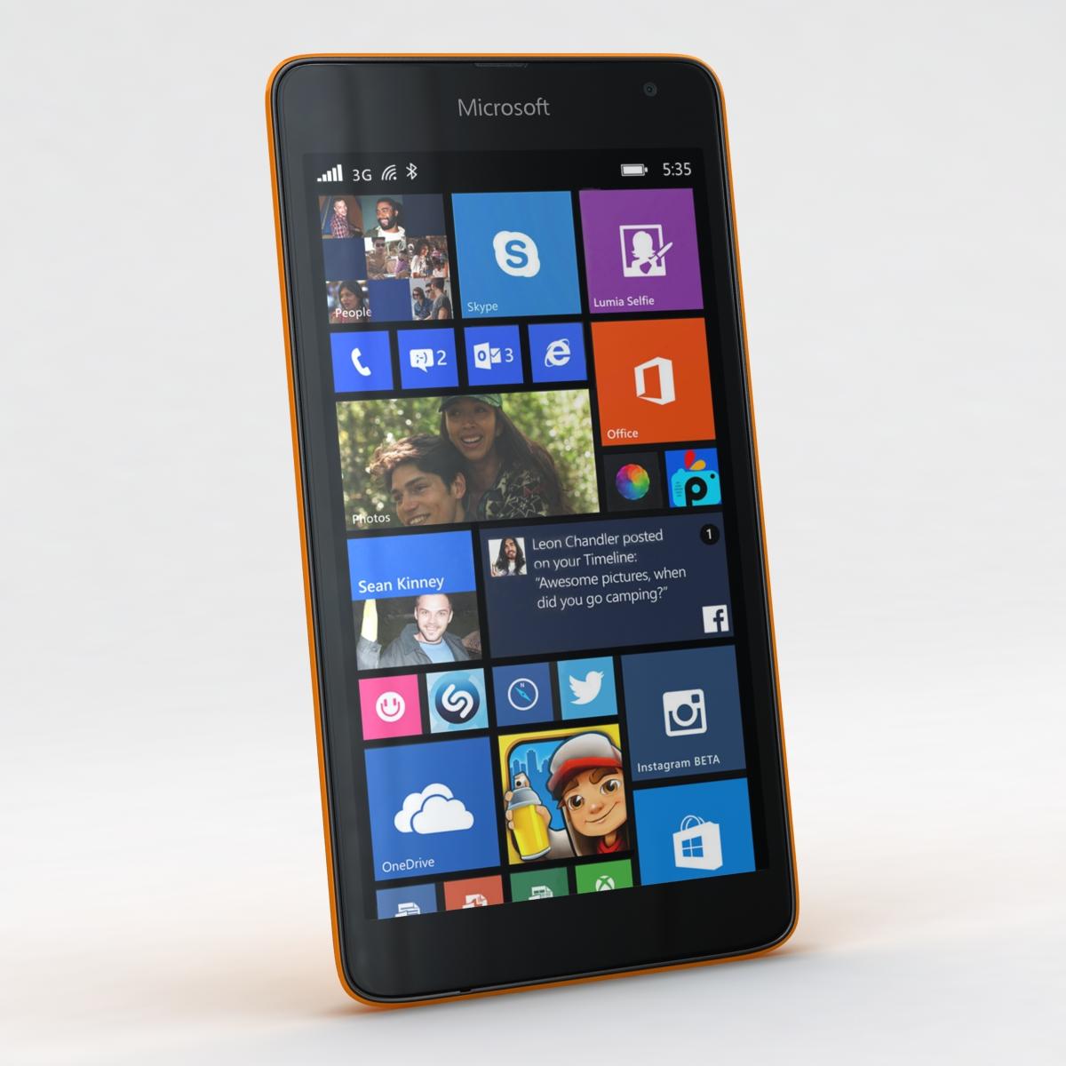 microsoft lumia 535 and dual sim orange 3d model 3ds max fbx c4d obj 204104