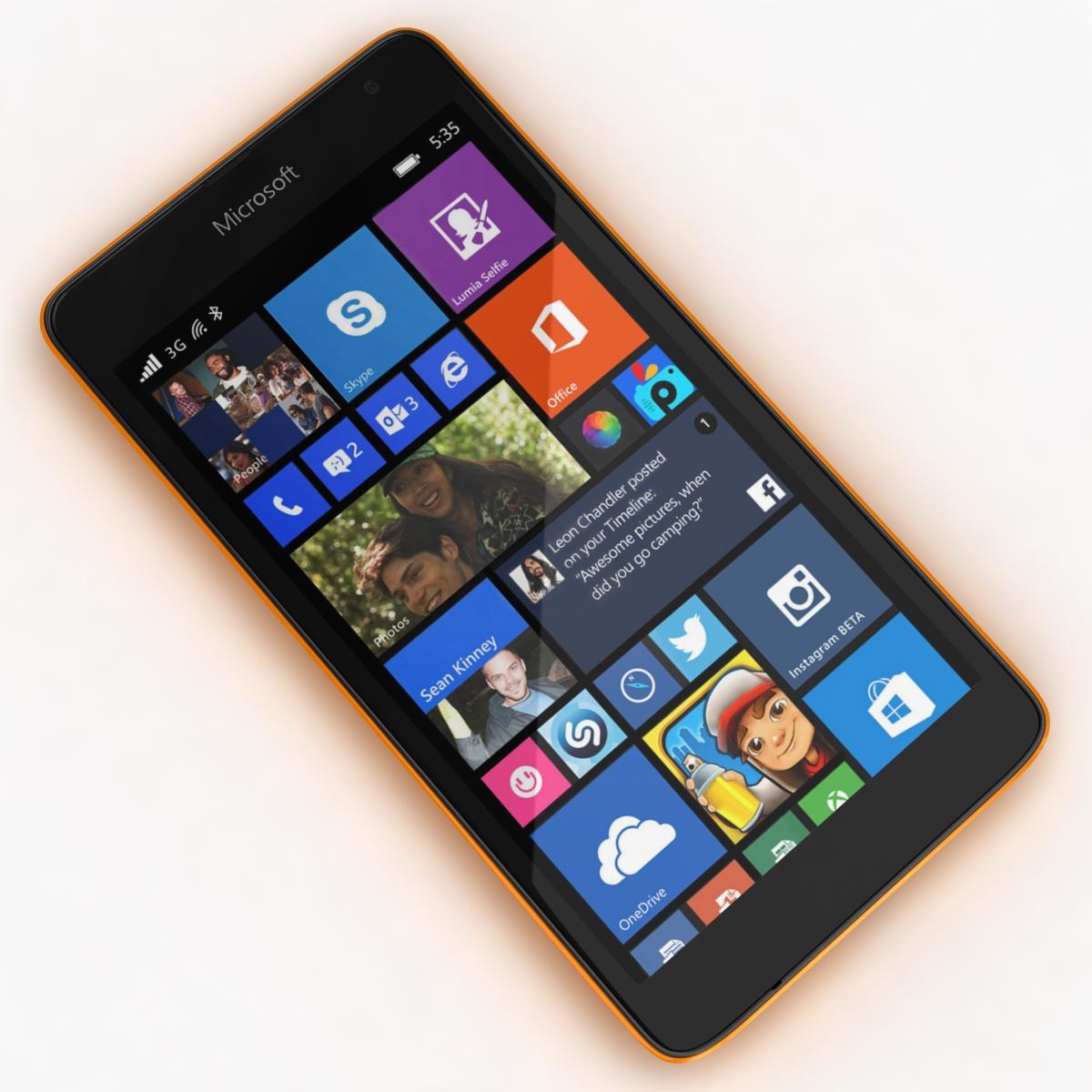 microsoft lumia 535 and dual sim orange 3d model 3ds max fbx c4d obj 204108