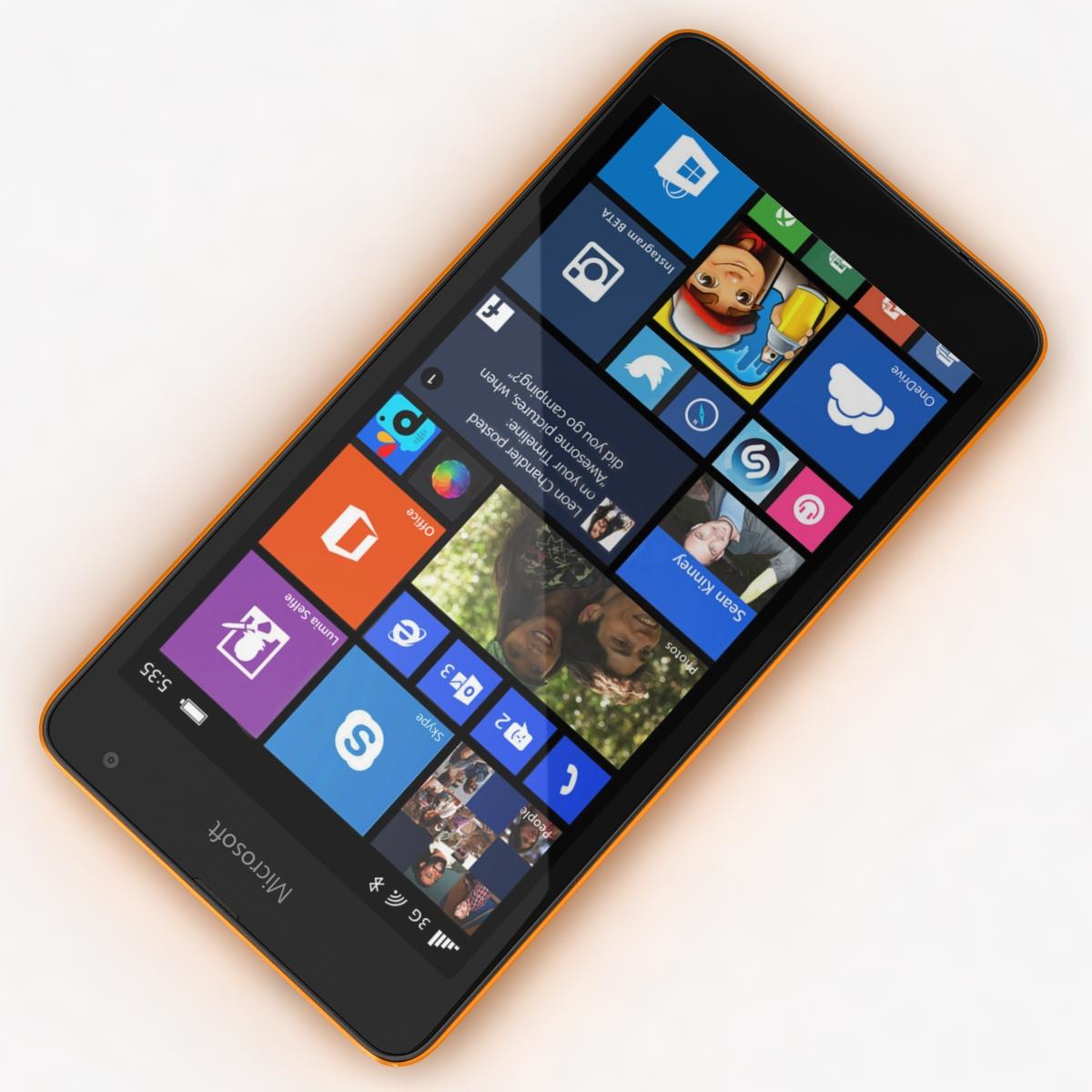 microsoft lumia 535 and dual sim orange 3d model 3ds max fbx c4d obj 204109