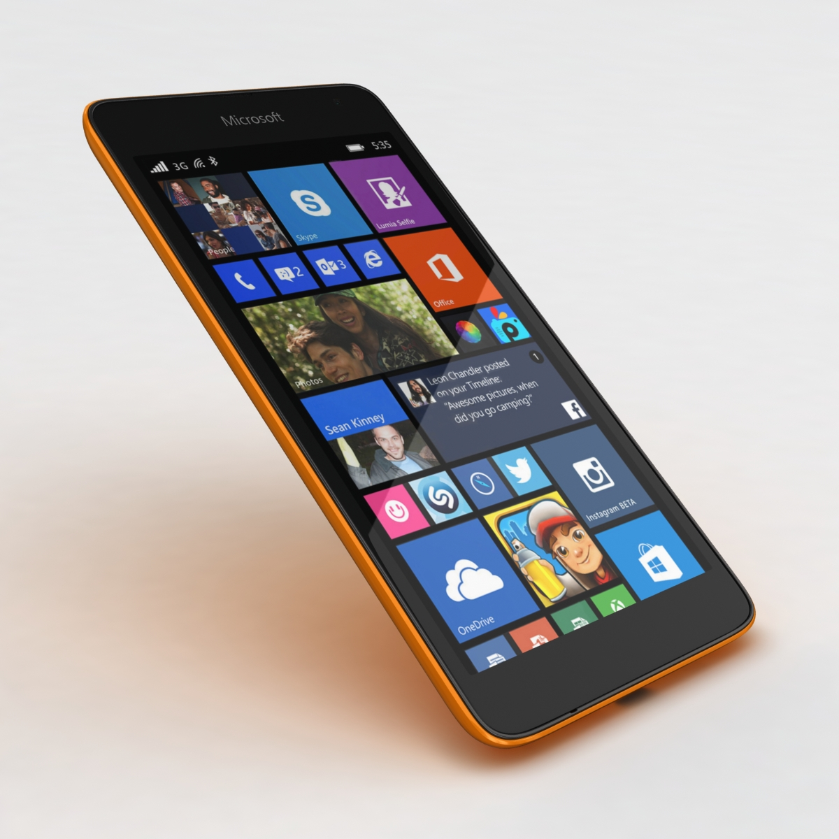 microsoft lumia 535 and dual sim orange 3d model 3ds max fbx c4d obj 204120