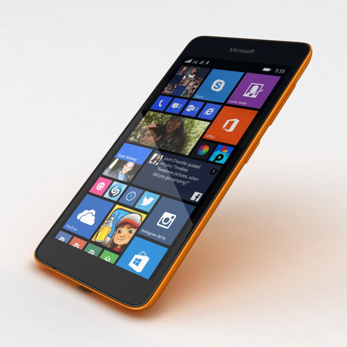 microsoft lumia 535 and dual sim orange 3d model 3ds max fbx c4d obj 204121